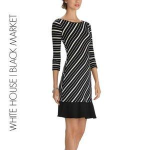 WHBM 3/4 Sleeve Striped Flounce Hem Chemise Dress
